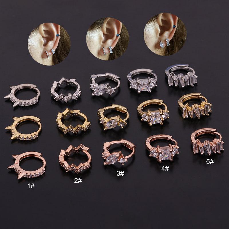 1Piece Incomum piercing brincos rodada Mulheres Tendência de jóias de personalidade Zircon Brincos presente