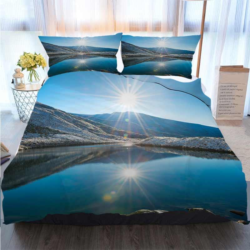 3D Stampato Buon Natale Bedding Set Bella Blue Lake Nelle Montagne poliestere Copripiumino Insiemi dell'assestamento di lusso