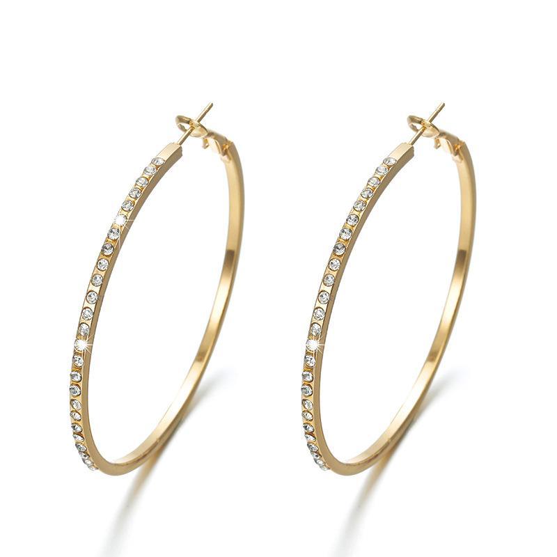 Designer Jewelry Creative diamond inlaid alloy Hoop earrings Huggie European and American exaggerated earring wholesale