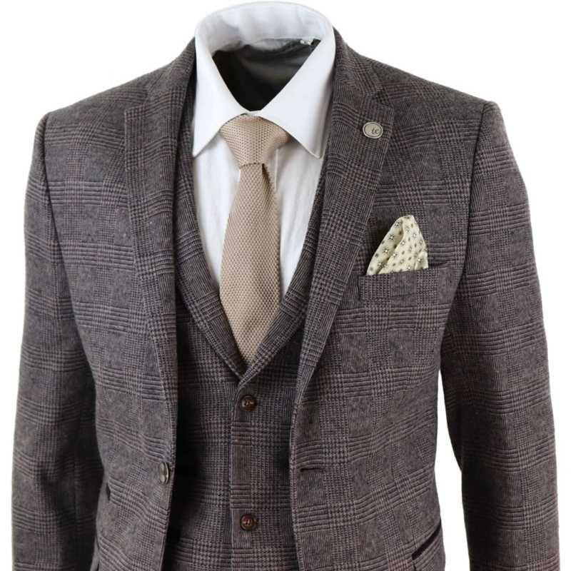 2021 Newest Brown Mens Suits 3 Piece Wool Blend Costume Homme Check Tweed Peaky Blinders Terno Masculino
