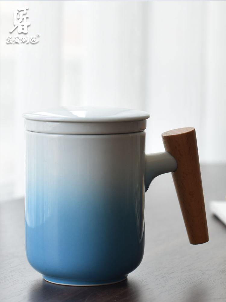 Handle Mug Ceramic Cup with Wooden Lid White Hot Cold Portable Coffee Mug Build-on Tea Milk Unique Modern Home Decor GG50mk T200506