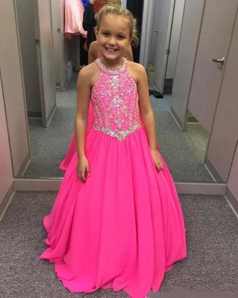 hizo vestido de 2021 del vestido de bola encantador del cordón muchachas de flor de espagueti de los vestidos de los niños lindos de encargo de la boda formal
