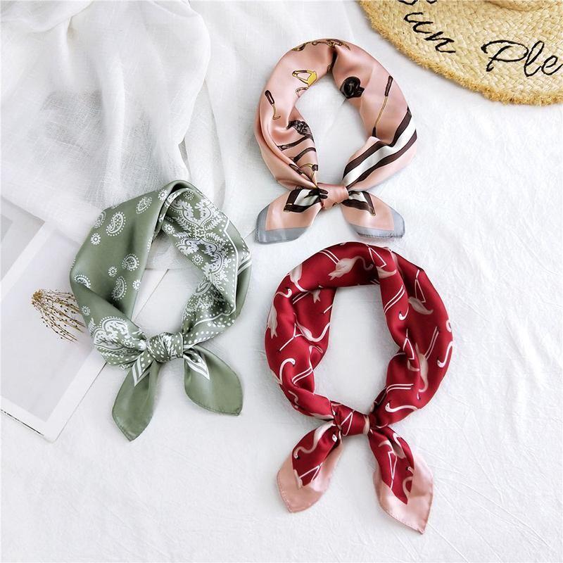 Szaliki Skinny Kolorowe Headscarf DIY Włosy Szalik Pałąk Print Neckerchief Head Neck Tie Zespół Mały Plac Jedwabny