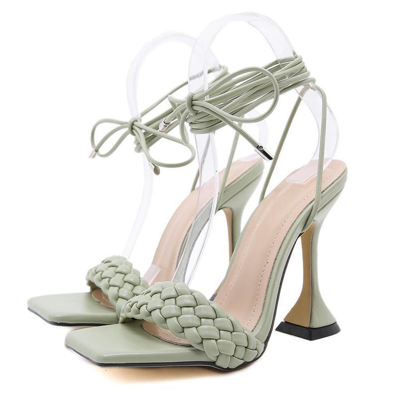 Estilo estrella mujeres sandalias de moda tacón tacón tacón tobillo tejido tejido gladiador sandalias súper altas tacones verano zapatos de verano sandalia
