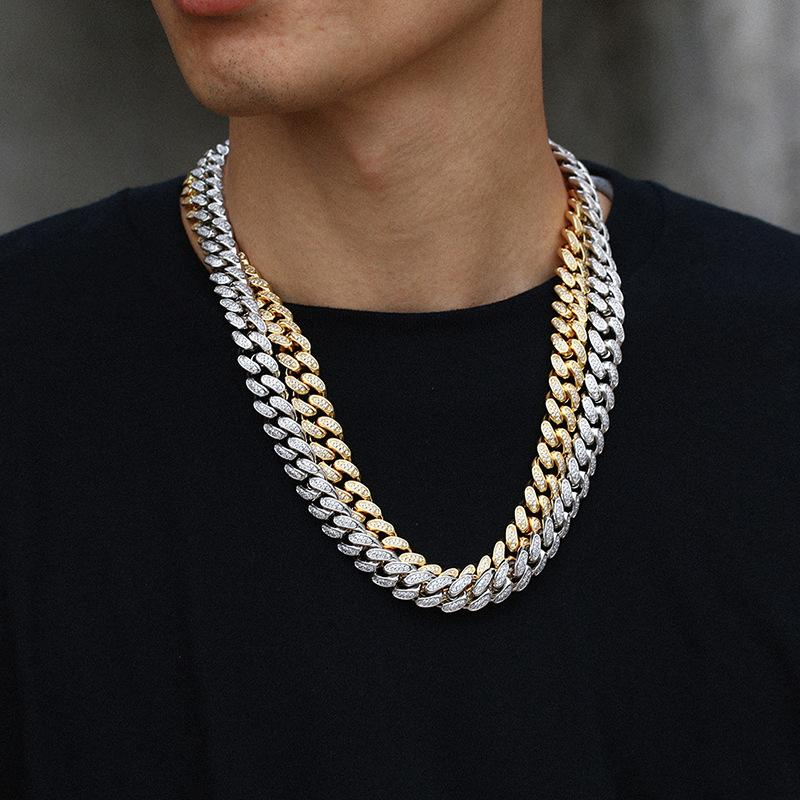 Hip Hop Necklace Ornaments 12mm Wide Box Buckle Inlaid Zircon Real Gold Plating Cuban Chain