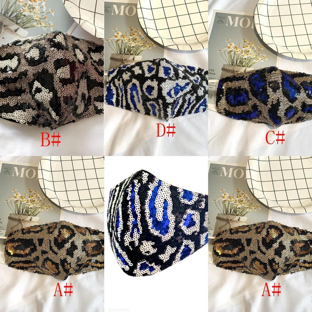 Boca moda reutilizable bling diseñador leopardo a prueba de polvo máscaras con máscaras de algodón lavable con lentejuelas mujeres máscara de cara máscaras de alta calidad