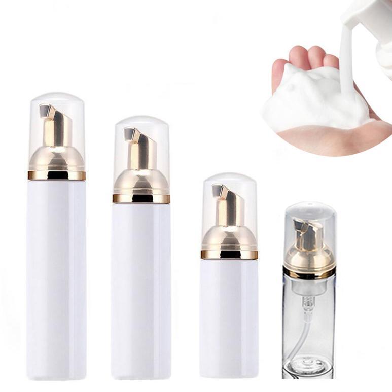30ml 50ml 60ml 80ml en plastique Foamer Bouteilles conteneurs vides Lavage à la main Savon Mousse Crème Distributeur Bubbling Bouteille avec pompe d'or 0298PACK