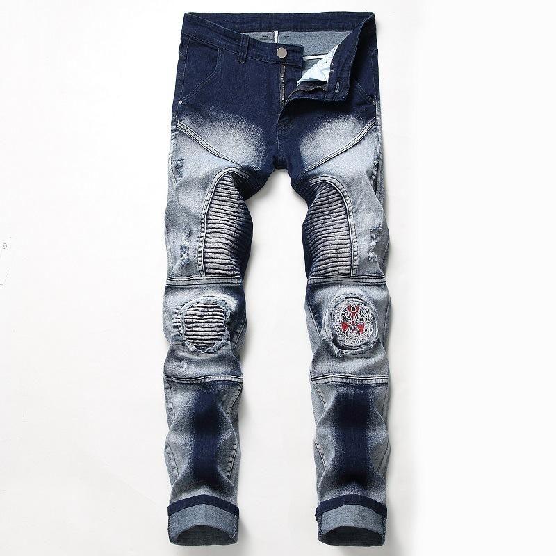 1J nostalgico moto elastico foro commercio estero dei jeans degli uomini Distintivo originale personalizzato moda pantaloni da uomo all'ingrosso dei jeans
