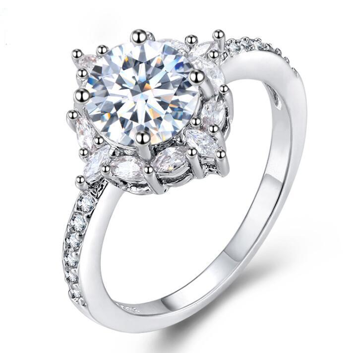 빛나는 크리스탈 핫 판매 CZ 다이아몬드 반지 선물에 큰 돌 반지 패션 결혼 반지 보석