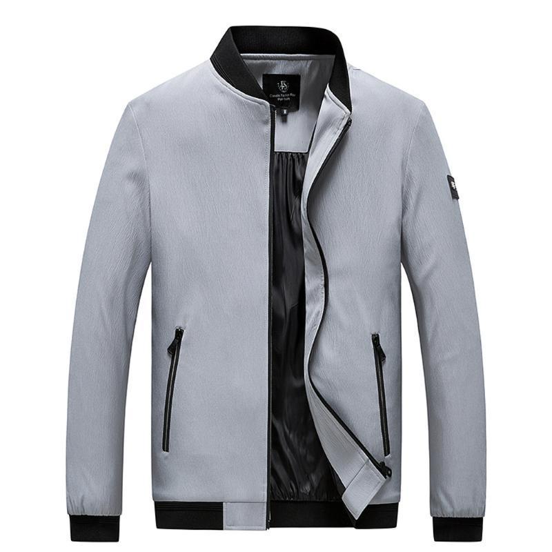 Mens outono inverno casual moda cor pura plus tamanho zipper esporte ao ar livre bombardeiro zíper jaqueta casaco casual masculino