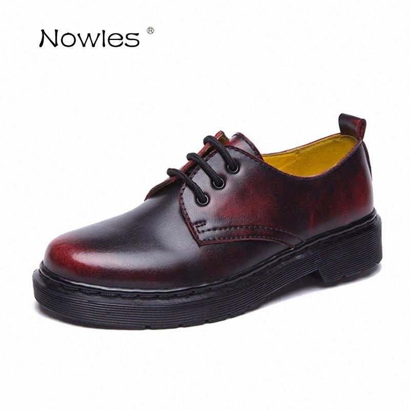 Plataforma Botas Curto Botas Mulheres Sapatos Moda Rodada Toe Lace Up Tamanho 35 40 Genuine Senhoras Sapatos de couro de sapatas das mulheres rH89 #