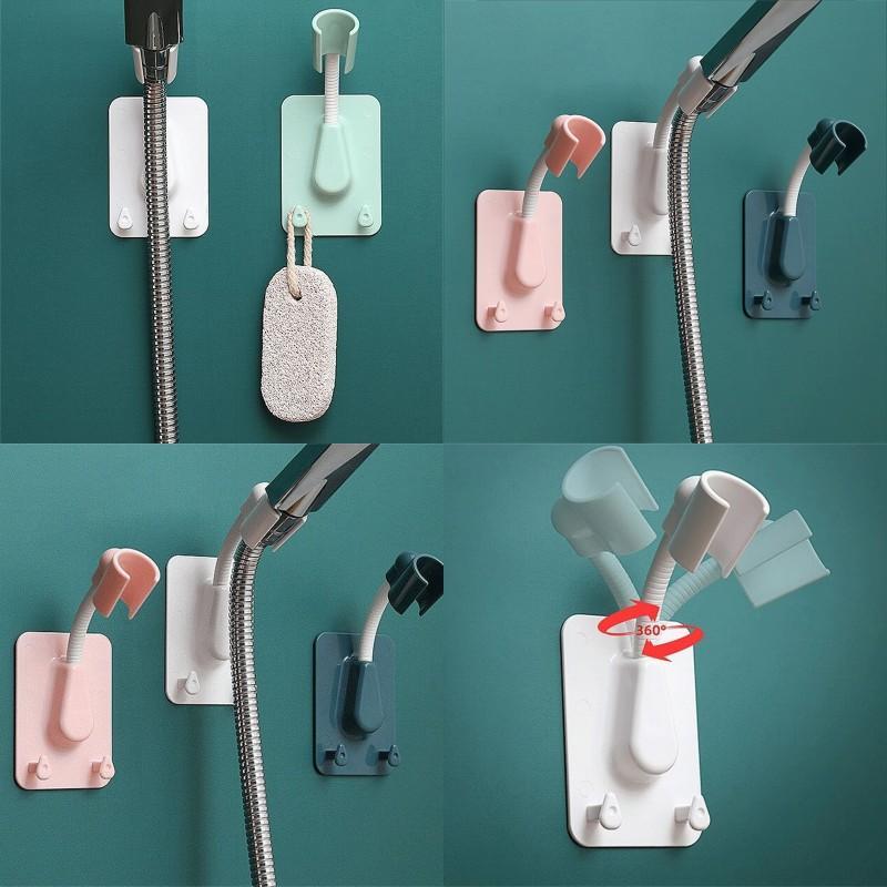 Duschständer Nano Traceless Nagelfreie Duschständer Universal einstellbar Duschhalter Saugnapf mit zwei Haken Badezimmer Zugang 88 J2