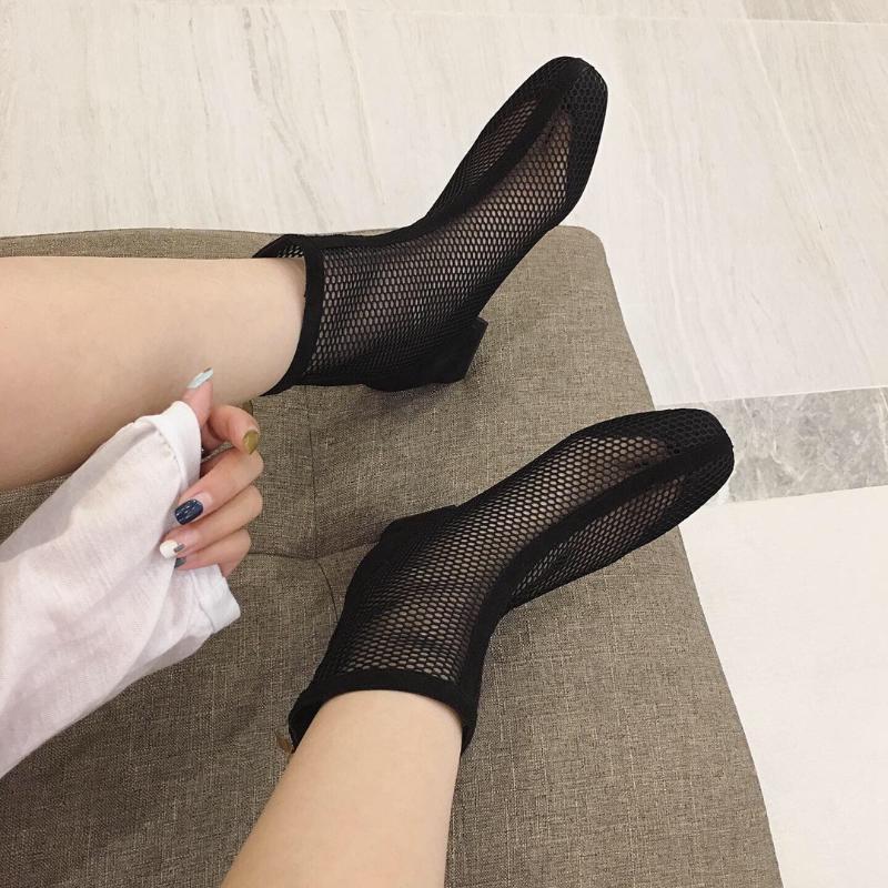 Botas sandalias mujer tacón alto zapatos de verano mujeres hueco malla cerca del pie grueso tacón espalda cremallera negro gris