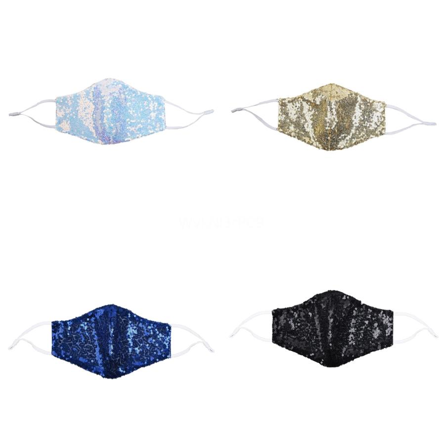 Sequins Fashion Ice Silk Bling WashableMask PM2.5 Face Care Shield Sun Color Gold Elbow Shiny Face Cover Masks Mouth#709