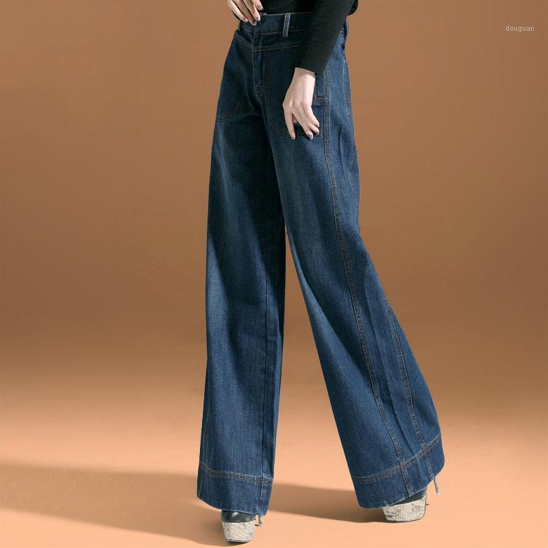 Женские джинсы мода повседневные женские свободные джинсовые широкие брюки ног Высокая талия прямые брюки 1
