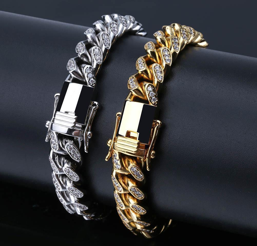 Or 18 carats en or blanc CZ Zirconia Miami Cuban Link Chain Chaîne Bracelet 10 14 18mm Rapper Hip Hip Hop Swewe WMTDYM DH_GARDEN