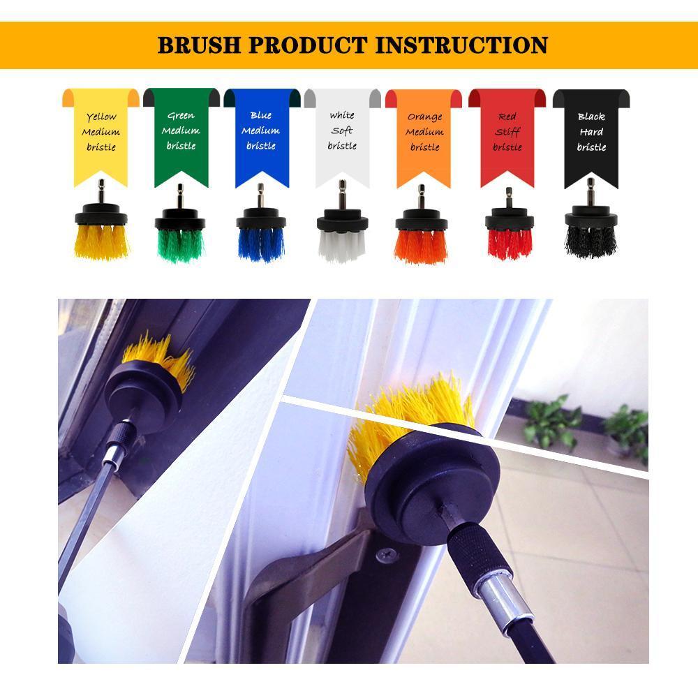 4pcs / set Puissance Puissance Puissance Clean Brush Pinceau Perceuse électrique Kit avec extension pour la voiture de nettoyage, siège, tapis, rembourrage Q Wmtoin