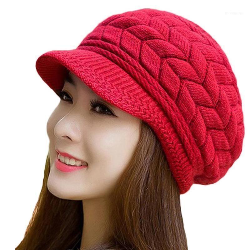 Мода Женщины Сплошной Цвет Утолщенные Шерстяная пряжа Вязаная Шляпа На открытом воздухе Клапан Pak1