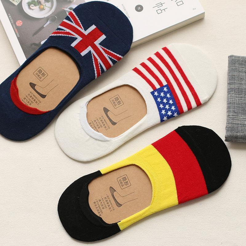 Wholesale- Men's Fashion National flag Cotton Sock slippers For Male Summer Silicone Non-slip Invisible Boat Socks 10pcs=5pairs/lot1