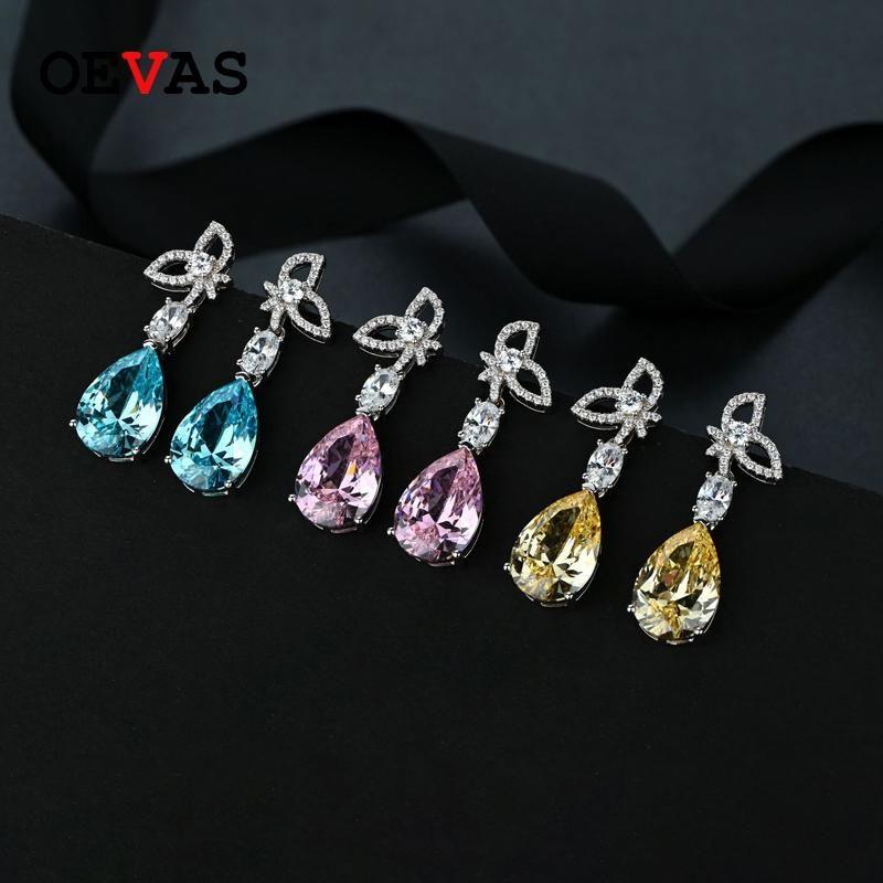Oevas 100% 925 Sterling Silber 10 * 15mm Aquamarin Topas Drop Ohrringe für Frauen Funkelnder High Carbon Dimaond Party Fine Schmuck