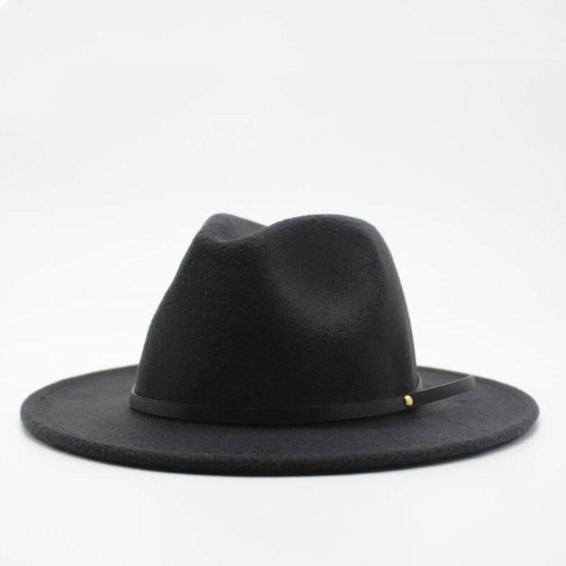 Laine Fedora Hat Hawkins Felt Cap Large Brim Ladies Trilby Chapeu Feminino Chapeau Femmes Hommes Jazz Eglise Godfather Sombrero Caps 201028
