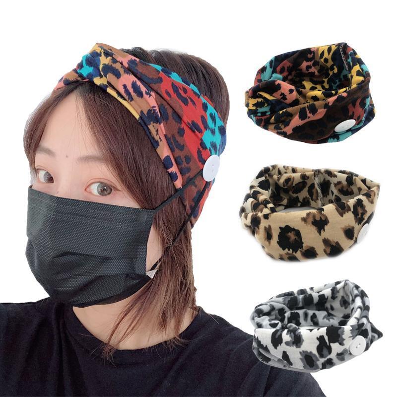 Moda Leopardo Headband Botão Banda de Cabelo Tecido de Algodão Imprimir acessórios de cabelo suor Hairband largo para as mulheres