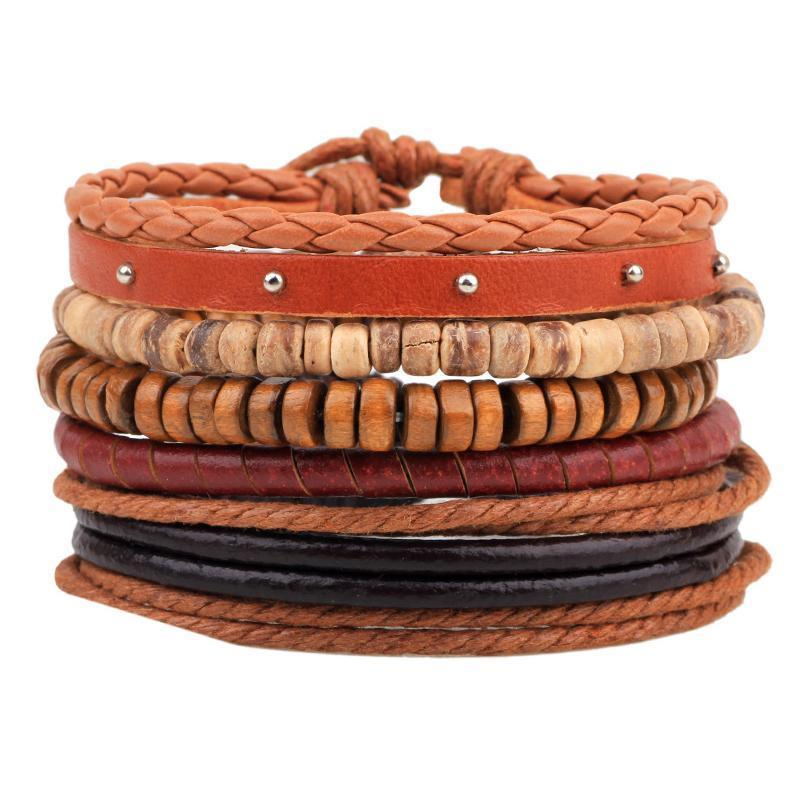 Новый стиль браслет орнамент многопарковного комбинированного браслета ручной работы из кожи ручной работы деревянные бусины из бисера сплетенный браслет N QYLGDK