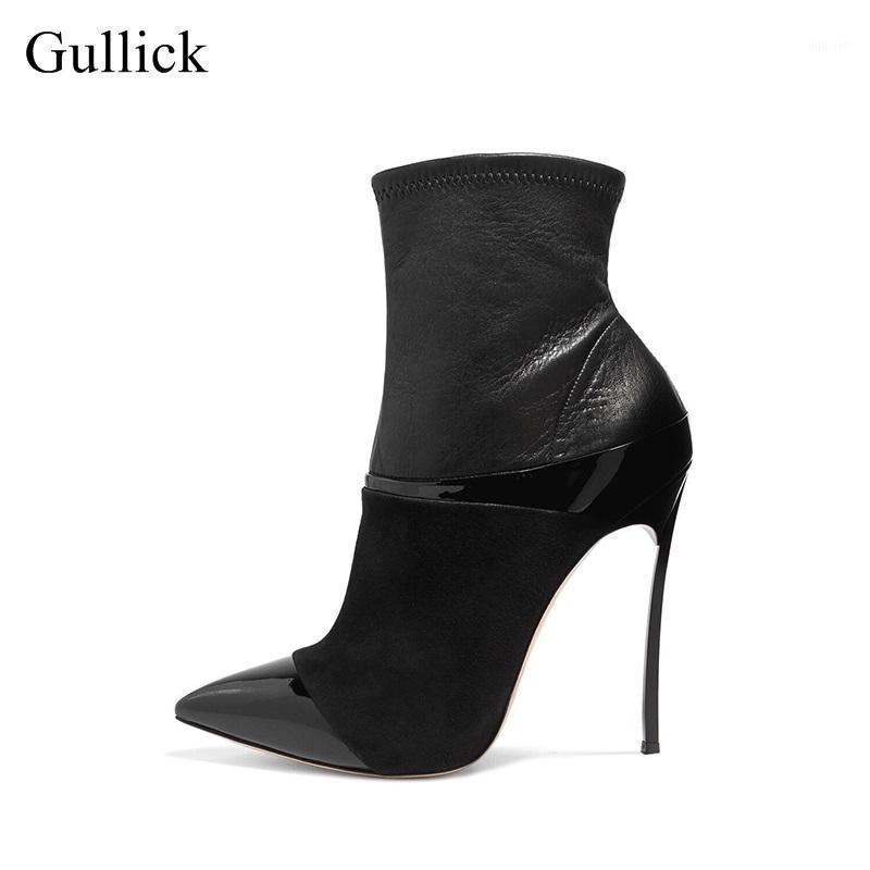 Gullick Hottest Pointed Toe 하이힐 부츠 12cm / 10cm 얇은 발 뒤꿈치 여성 발목 부츠 섹시한 가죽 부츠 오토바이 부팅 큰 크기 111