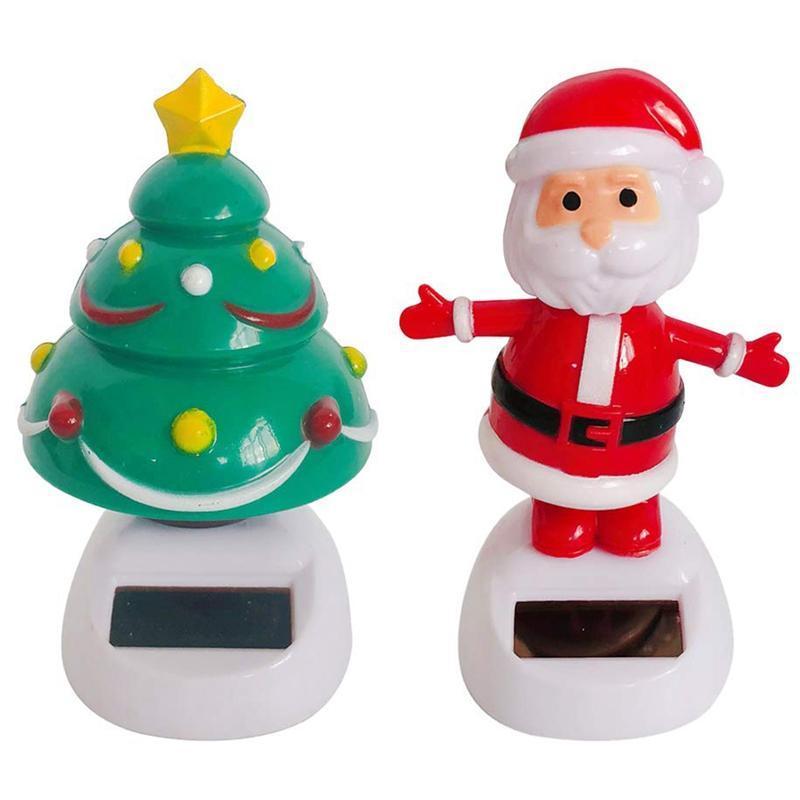 2X solares Navidad juega el baile Figurines árbol de Navidad de Santa Claus para el hogar decoración de la ventana de coches para niños juguetes solares