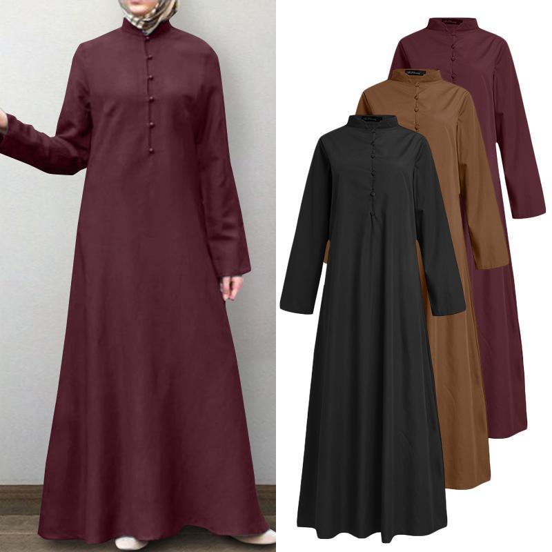 Robe de musulmane rétro Femmes Chemise d'automne Sundress Zanzea 2020 Casual Manches longues Maxi Vestido Bouton Femelle Robe turque surdimensionnée
