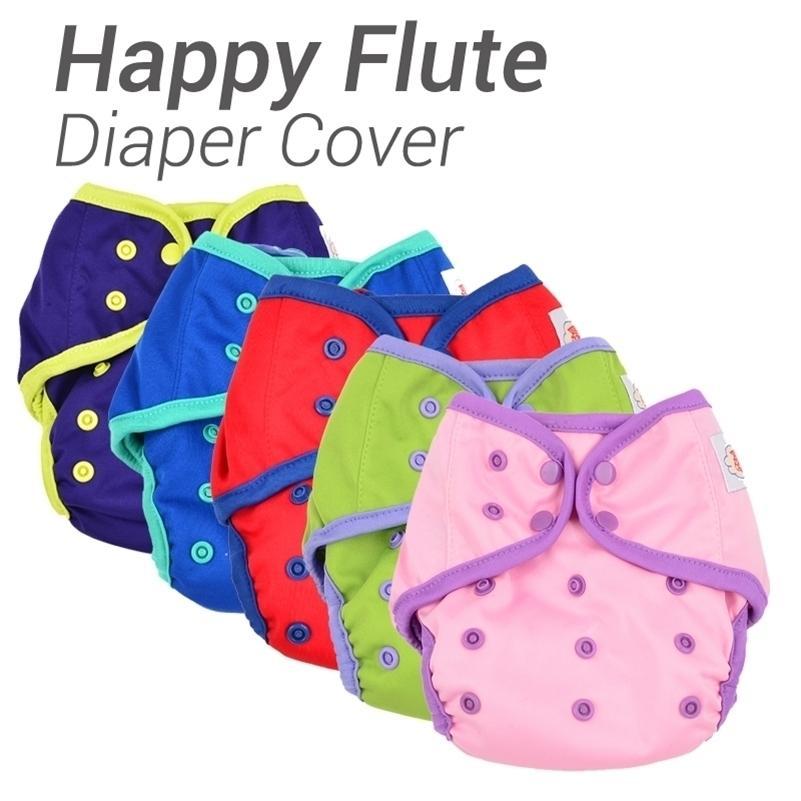12 unids / lote Flauta feliz Cubierta de pañales de una talla Pañal de tela impermeable Pul Transpirable Pañal Reutilizable para Baby Fit 3-15kg 20117