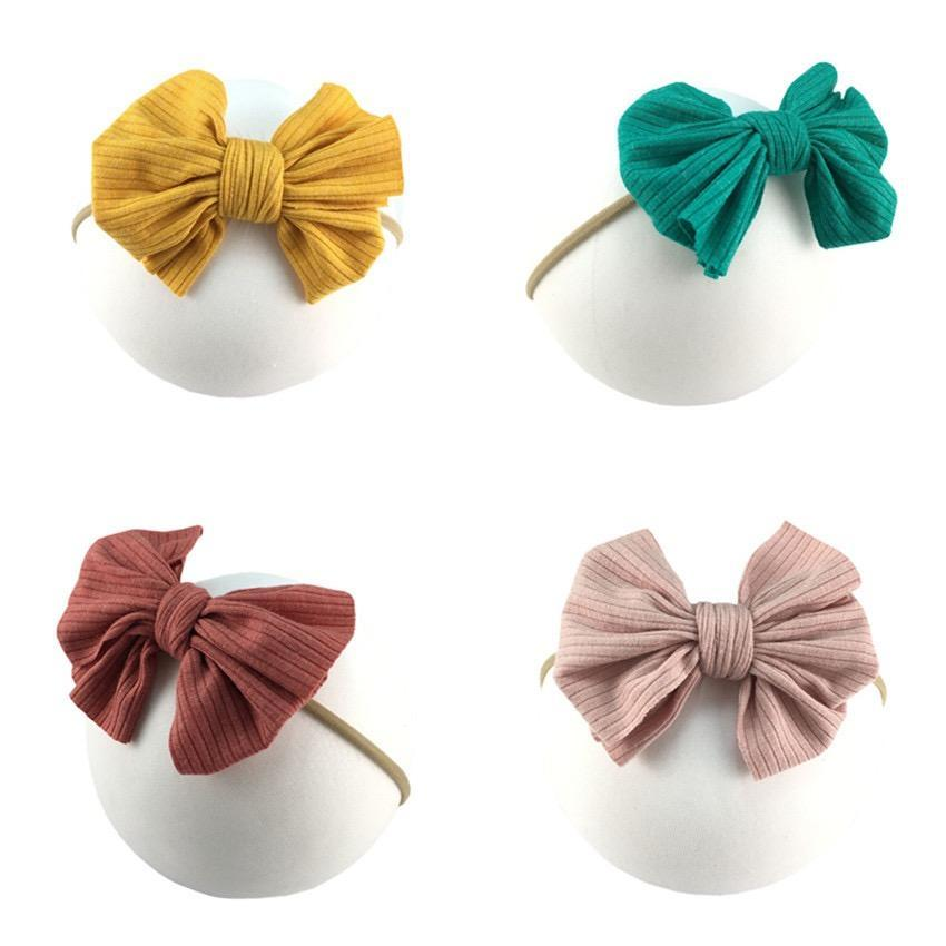 2020 16 Colors Cute Big Bow Hairband Baby Girls Toddler Kids Elastic Headband Knotted Turban Head Wraps Bow-knot Hair Accessories