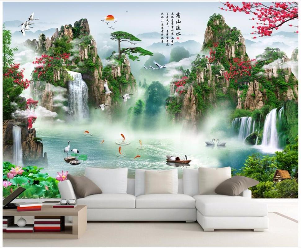 3D duvar kağıdı özel fotoğraf duvar çin manzara şelale arka plan duvar ev dekor oturma odası duvar kağıdı duvarlar için 3 d