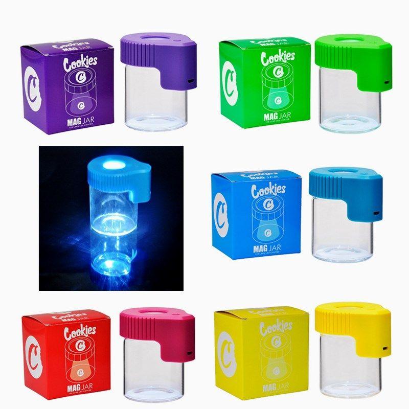 Galletas LED Tarra de almacenamiento Lupa Atash Steash Recargable Medicina Recargable Cajas de vidrio JARS DAB 155ml Botella de vacío para el tabaco de hierbas secas