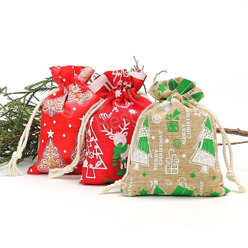 2021 Christmas Gift Bags 9*12cm Santa Sack Drawstring Bag Christmas Tree Reindeers Sack Bags Kids Gift Candy Storage Bags BH1679 TQQ