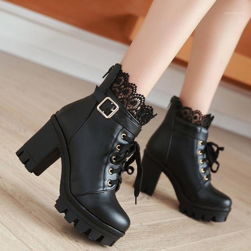 Jaycosin venta caliente moda botines tobillo elegante encaje decorado encaje plataforma zapatos femeninos cómodos cuadrados tacón de invierno botas de invierno1
