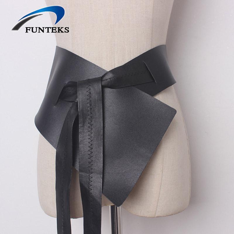 Vendita all'ingrosso larga cintura irregolare per le donne regolabili dress dress cinturino da donna nero morbido cinturino in PU femmina bow-nodo larga cintura