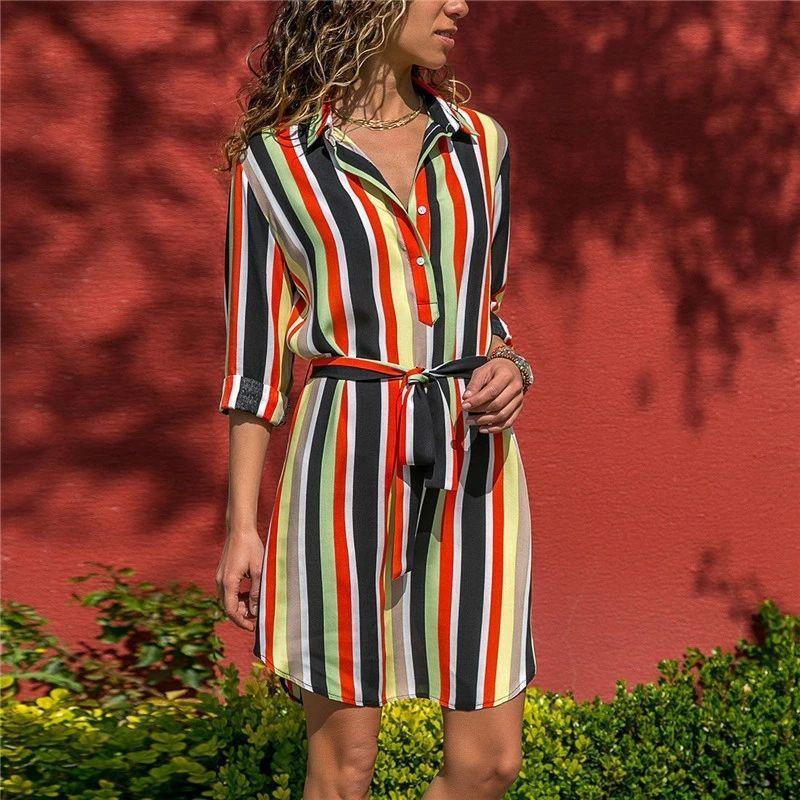 2020 с длинным рукавом платье Осень Boho пляж Платья Женщины Повседневная Полосатый Печать A-линия Мини платье партии Vestidos