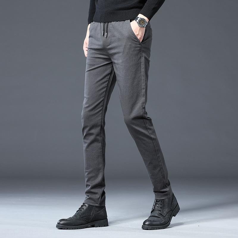 gfwsn Herbst und Winter koreanische Männer der Männer des feste elastische bügel beiläufige Farbe beiläufige Hosen Jugendmode vielseitig gerade Hosen z32Hc