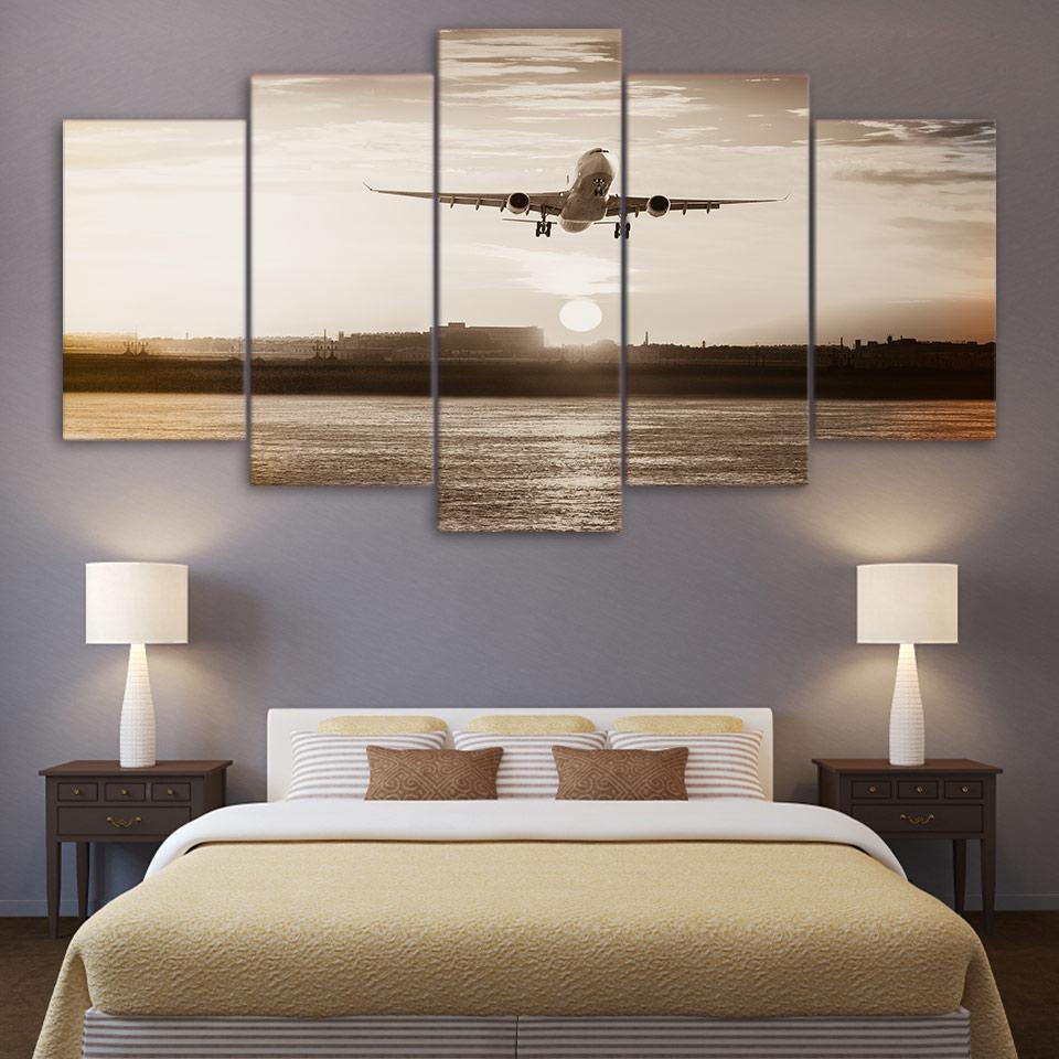 5 Panneau de toile d'avion Toile Peinture Rétro mur photos pour Salon Home Decor affiche Prints
