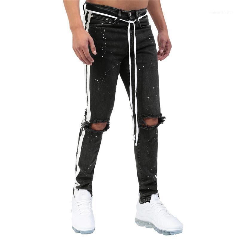 Jeans masculinos Moruancle Mens Hi Street pintado Pantalones destruidos con agujeros Pantalones de mezclilla rasgados Slim Fit Streetwear 1