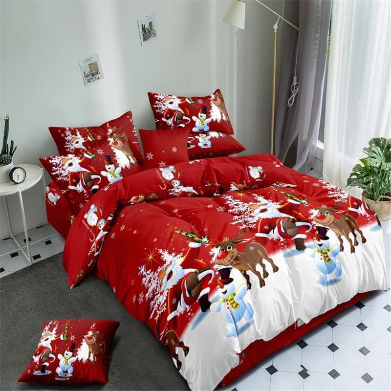 Conjuntos de cama 4 pçs / set 3D Natal impresso capa de edredão folha de cama pillowcase definido para férias 2 * 2.3m