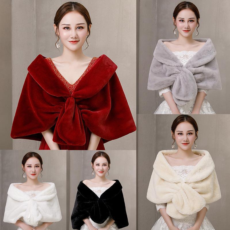 Inverno di eco-pelliccia bolero donne scialle da sposa Capo nuziale Cappotti giacca da sposa per il vestito da sera del partito di Cape Fur Coat