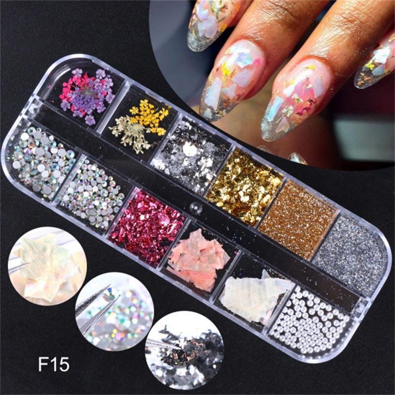 Fashion Nail Sticker Décoration Fleur Dry Fleur Inlay 8 Différents Type Decals de manucure Sceller Nails Femme Manucure Stickers Nouveau 8 8SQ L2