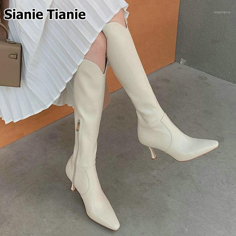 Sianie Tianie Genuine Leather Point White Toe Stilettos botinhas Slim Botas para Mulher Fina Salto Alto Mulheres Knee High Boots1