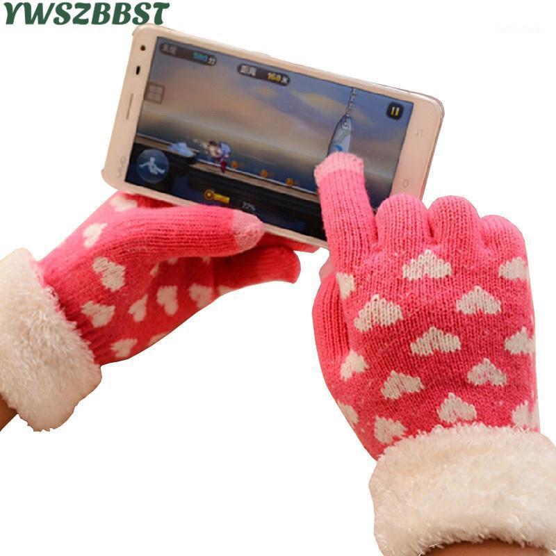 Moda Touch Screen Guanto Donne Donne Girls Autunno Autumn Winter Love Knit Screen Screen Guanti touch per tutti gli smartphones1