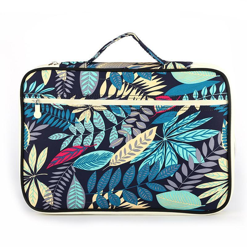 Nuove foglie stampato impermeabile make Cosmetic Bag Up Women Bag impermeabile portatile di trucco multifunzione Organizer
