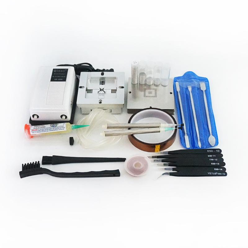 BGA Kurşunlu Lehim Topu PMTC Açılış Araçları 8090mm Evrensel Reballing Jig Simli 90mm BGA Şablonlar 43 adet NDVIA Vakum Pompası