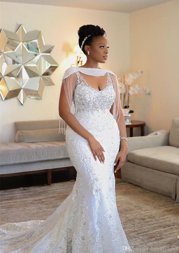 Tasarımcı 2021 Denizkızı Walldding Dreses Wrap Boncuk Kristal Dantel Aplike Seksi Gelinlikler Güney Afrika Artı Boyutu Evlilik Önlükler