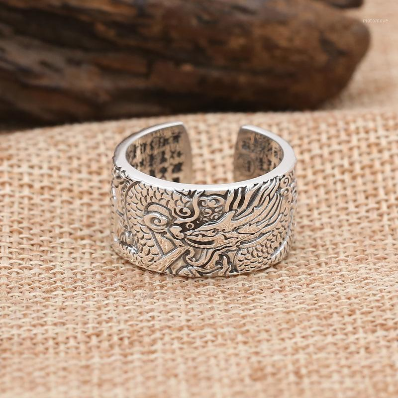 Band Rings FNJ Dragon Ring 925 Silver Jewelry Fashion Punk S925 Sterling For Men Adjustable Size 7.5-10 Bague1